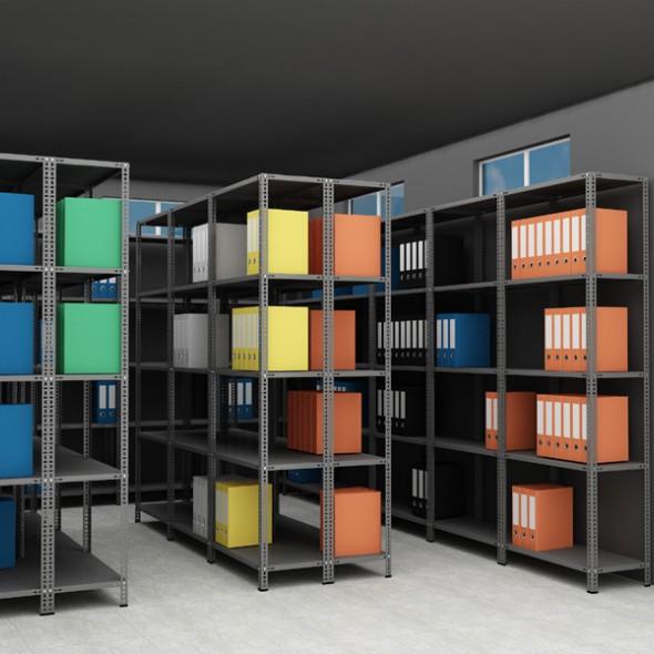 Raft arhivare solid, asamblare cu suruburi-piulite, H:200 cm, 5 polite 43x93 cm