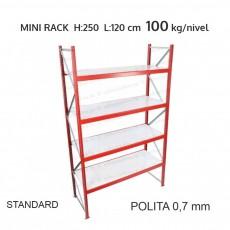 Raft metalic Mini Rack pentru depozitare usoara H:250x120x60 cm (0,7 mm)