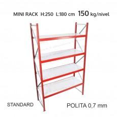Raft metalic Mini Rack pentru depozitare usoara H:250x180x60 cm (0,7 mm)