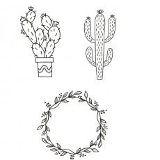 """Set 3 sabloane A3 """"Plante"""" pentru geamuri/vitrine (marker inclus)"""