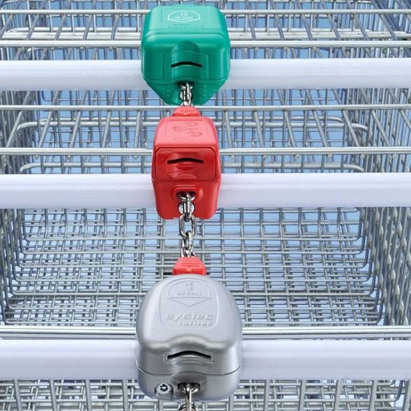 Antifurt cu moneda pentru carucioare supermarket