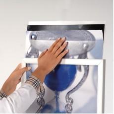 Panou/Display informare A1, doua fete cu insertie afise, baza metalica ovala de stabilizare